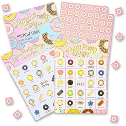 Bingo Game for Donut Birthday Party (5 x 7 Inches, 36 Cards)