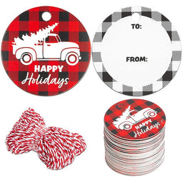 Gift Tags with Twine, Happy Holidays (150-Pack)