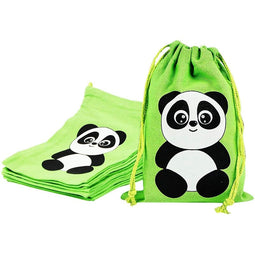 Drawstring Gift Bags, Panda Birthday Party Supplies (5 x 7 i