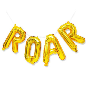 Foil Balloon Letters Set, Gold Roar Dinosaur Birthday Party