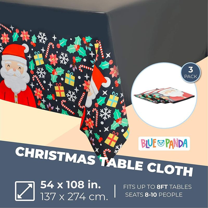 Santa Claus Tablecloth for Christmas Holiday Party (Black, 54 x 108 in, 3 Pack)