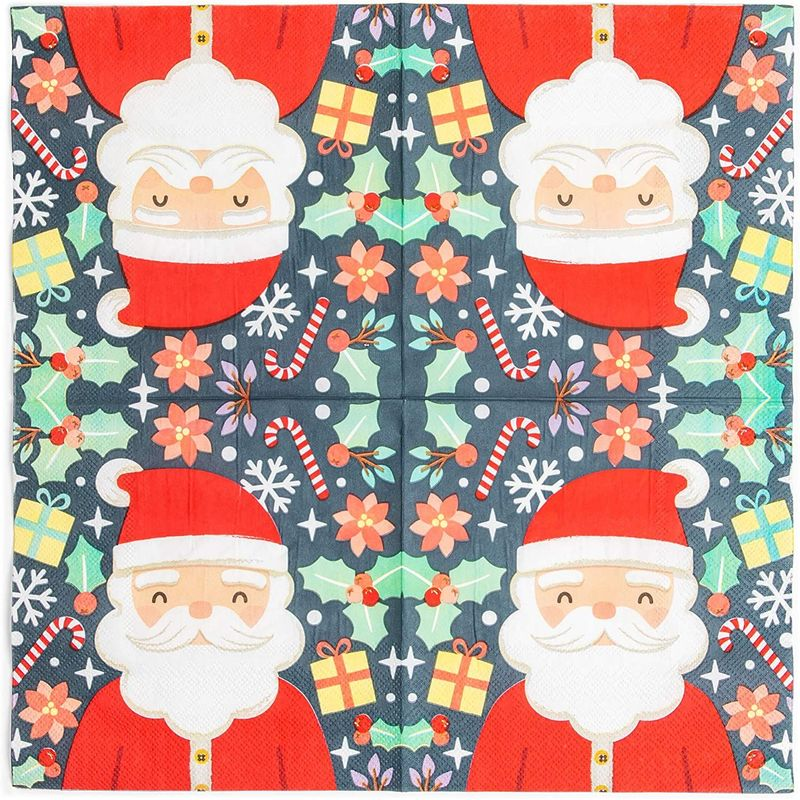 Santa Claus Paper Napkins for Christmas Holiday Parties (6.5 x 6.5 In, 50 Pack)