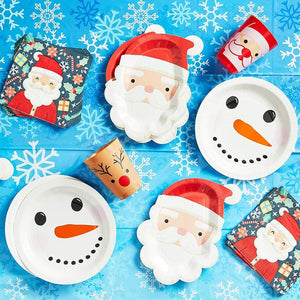 Christmas Party Paper Plates, Santa Claus (7.5 x 10 Inches, 24 Pack)