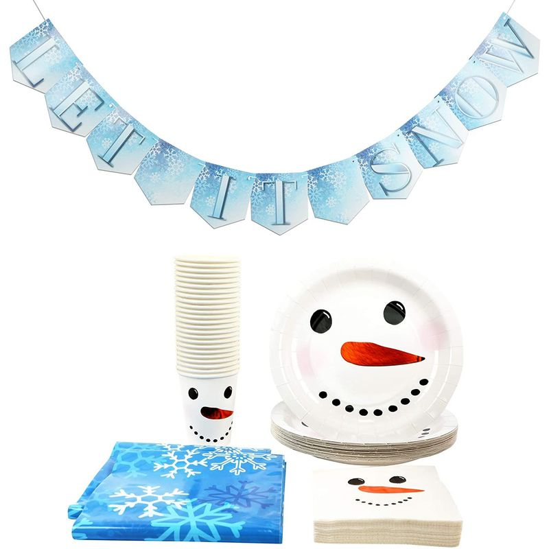 Christmas Party Park, Snowman Dinnerware, Tablecloths, Banner (Serves 24, 75 Pieces)