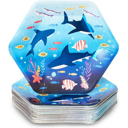 Shark Party Supplies, 9 Inch Paper Plates (48-Pack)