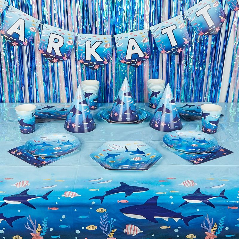 Shark Party Dinnerware, Banner, Plastic Tablecloth, Hats (Serves 24, 123 Pieces)