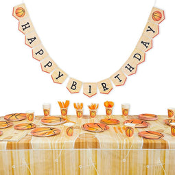 Happy Birthday Basketball Party Pack, Dinnerware Set and Banner (Serves 24, 171 Pieces)