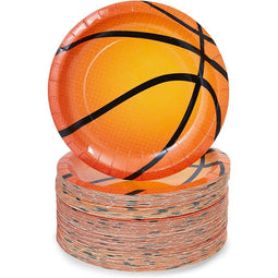 Basketball Paper Plates for Sports Party (7 In, 80 Pack)