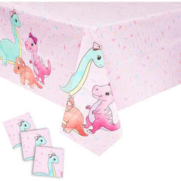 Pink Dinosaur Party Decorations, Plastic Tablecloth (54 x 108 In, 3 Pack)