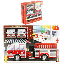 Giant Fire Truck Floor Puzzle (1.9 x 2.9 Ft, 48 Pieces)