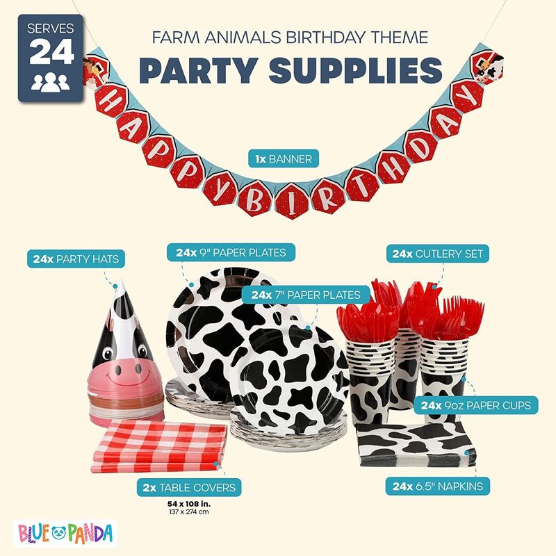 Cow Print Farm Themed Party Pack (Serves 24)