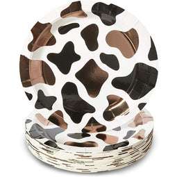 Cow Print Farm Theme Party Paper Plates (9 in., 48 Pack)