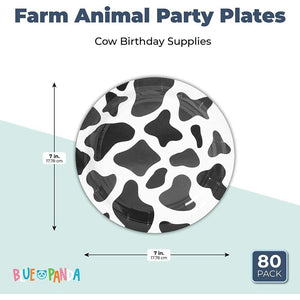 Cow Print Farm Theme Party Paper Plates (7 in., 80 Pack)