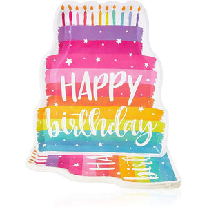 Birthday Cake Die-Cut Paper Plates (15 x 13 in, 24 Pack)