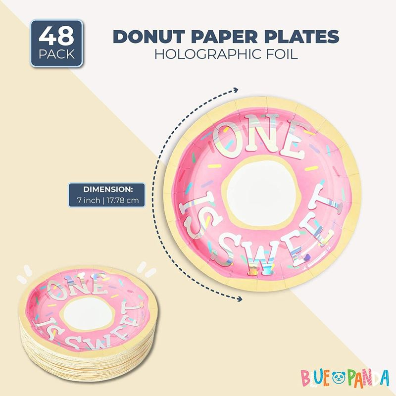 Donut Paper Plates for 1st Birthday Party (7 In, 48 Pack)