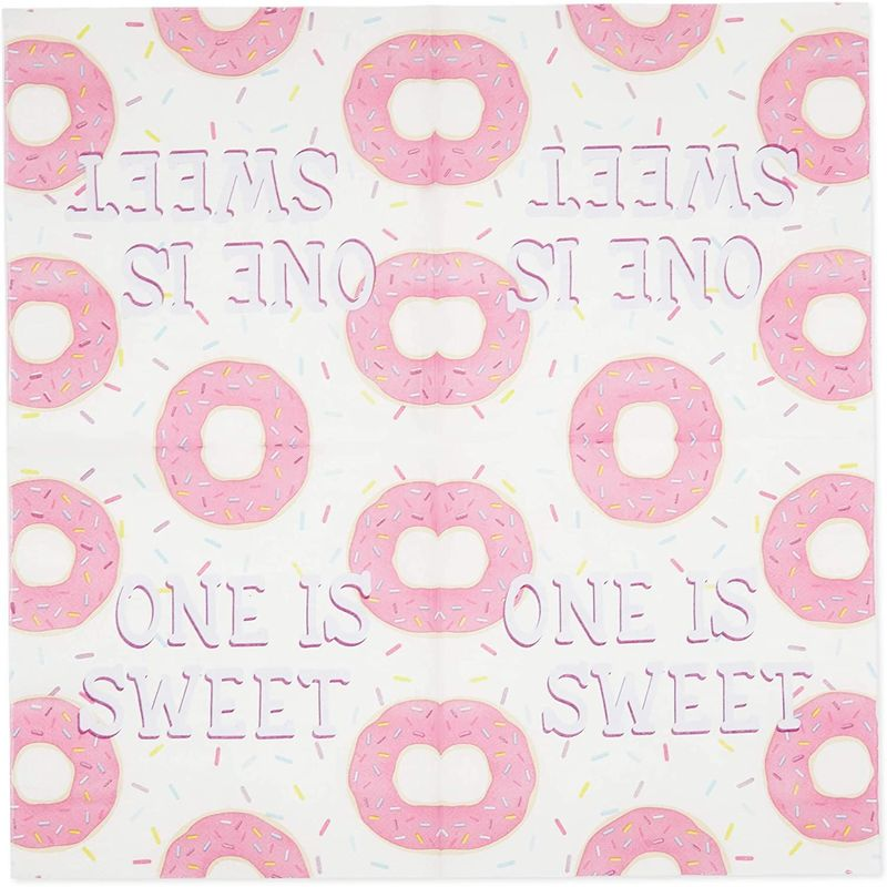 Donut Birthday Party Napkins (6.5 x 6.5 in, 100 Pack)