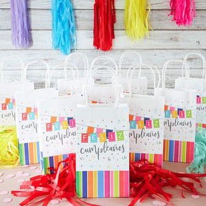 Feliz Cumpleanos Birthday Gift Bags with Handles (9 x 5.3 in