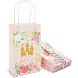 Pink Princess Castle Paper Birthday Party Gift Bags (9 x 5.3 in, 24 Piece)