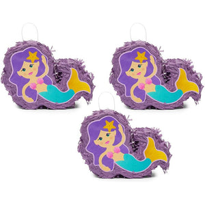 Mini Mermaid Piñatas for Girls Birthday Party Decorations (8 x 5 x 2.5 In, 3 Pack)
