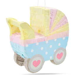 Small Baby Carriage Pinata for Baby Shower Party (11.5 x 12.