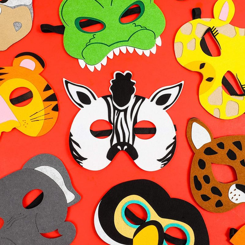 Felt Animal Masks for Jungle Birthday Party Favors (7 x 7.2