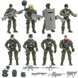 Blue Panda Soldier Action Figures with Military Weapons (8 P