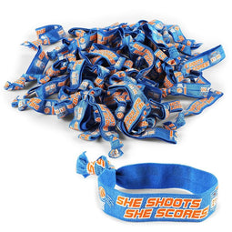 Basketball Hair Ties or Bracelets, Elastics, She Shoots, She Scores!' (50 Pack)