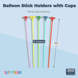 Balloon Sticks with Cups, 5 Colors (300 Pieces)