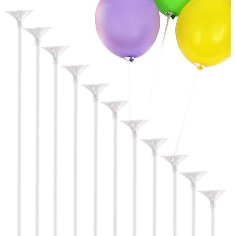 Balloon Sticks with Cups (White, 300 Pieces)