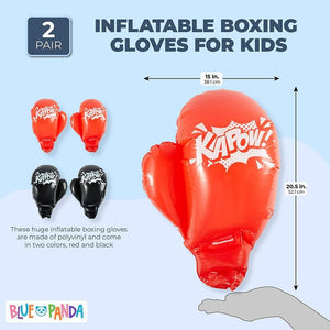 Inflatable Boxing Gloves for Kids (15 x 20.5 in, Black, Red, 2 Pairs)