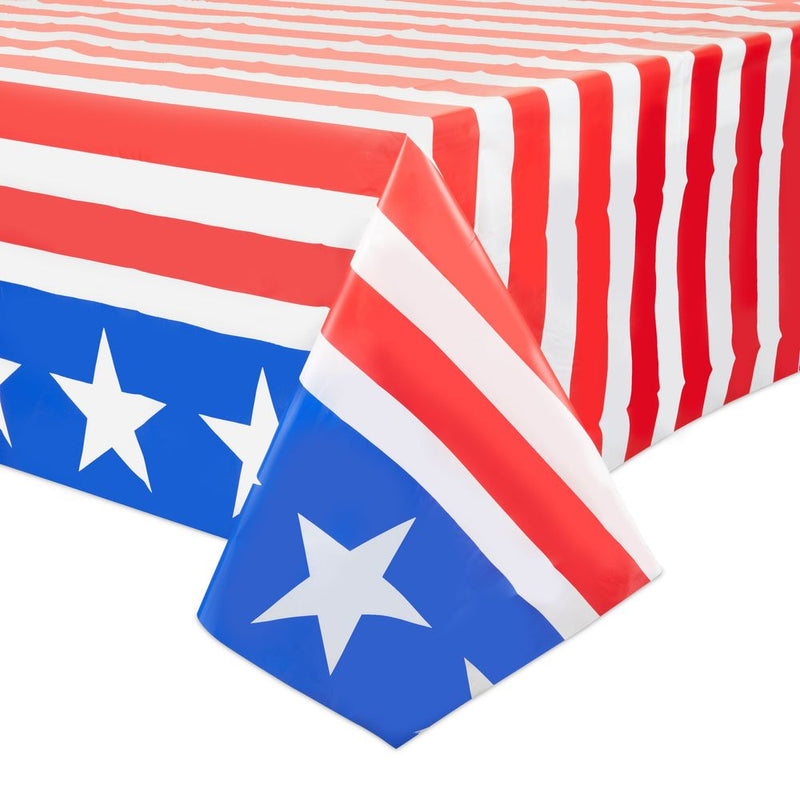Fourth of July Decorations, USA Flag Red, White, Blue Tablecloth (54 x 108 In, 3 Pack)