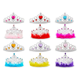 12 Pack Princess Crowns for Little Girls, Kids Dress Up Tiaras for Birthday Party