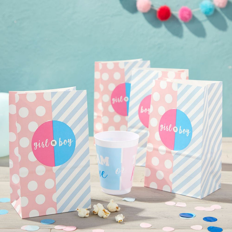 Party Favor Bags for Gender Reveal, Baby Shower (Pink, Blue, 36 Pack)