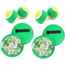 Toss and Catch Paddle Ball Set with Tropical Leaves (2 Sets, 1 Bag)
