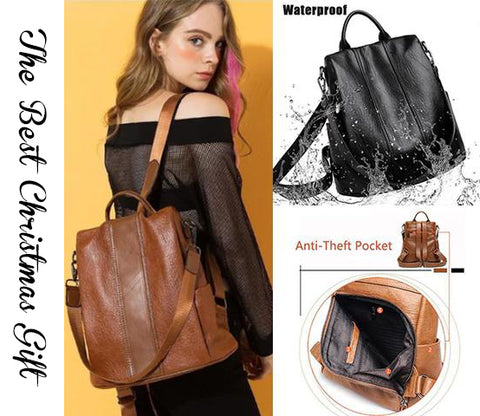 Leather Backpack Women Multifunction Anti Theft Bagpack Nethomebrand