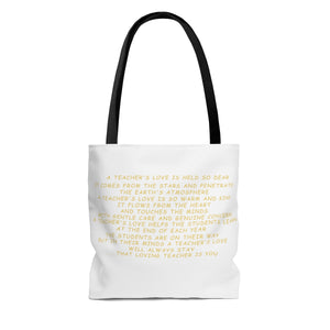 "A ""Super"" Teachers Love Tote Bag - White"