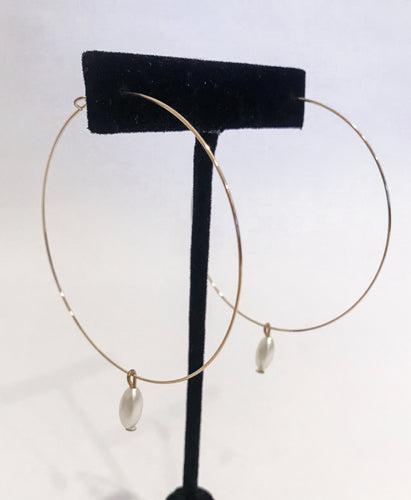 Large Gold Pearl Drop Hoops