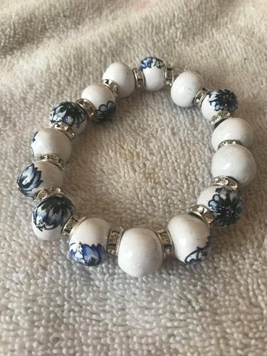 White and Blue Ceramic Bracelet