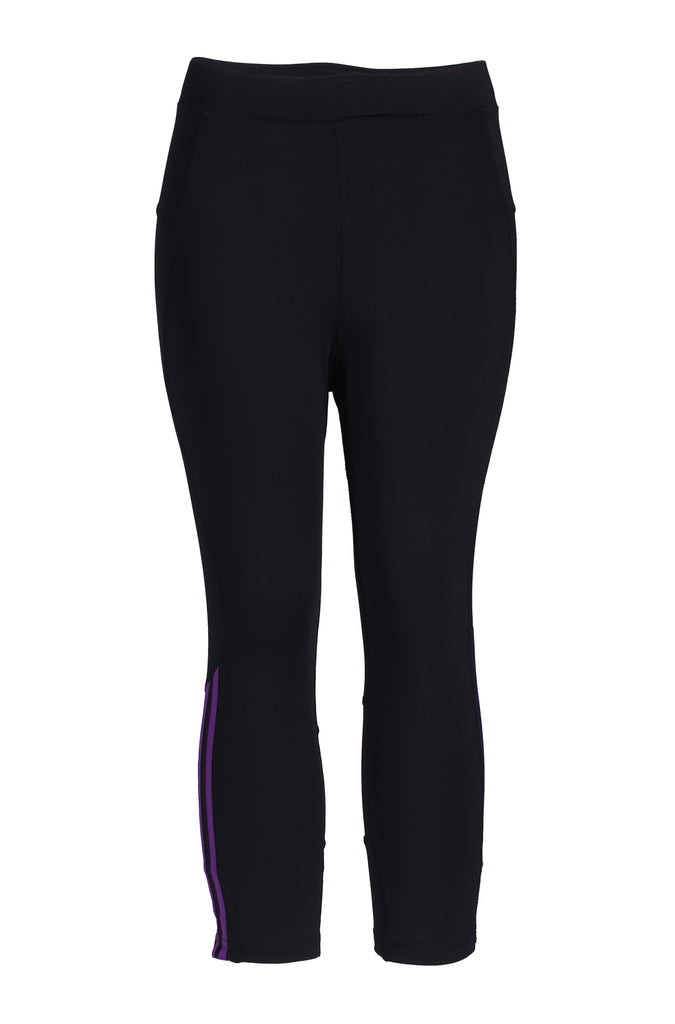 Contrast Color Bar Trimmed Workout Carpris in Sporty Colors | 30% Off First Order | Purple