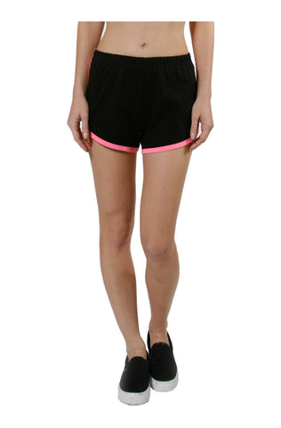 Trendy Knit Track Shorts W/ Contrast Trim