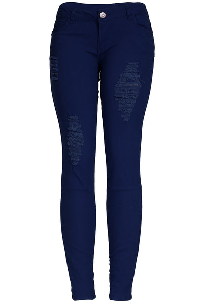 Trendy Colored Distressed Skinny Jeans - BodiLove | 30% Off First Order  - 1