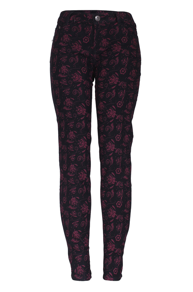 Floral Print 5 Pocket Skinny Jeans | 30% Off First Order | Black & Red