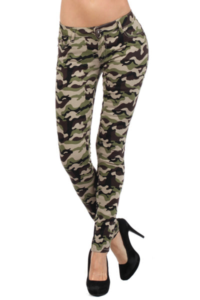 Camoflage Army Print Skinny Jeans - BodiLove | 30% Off First Order  - 1