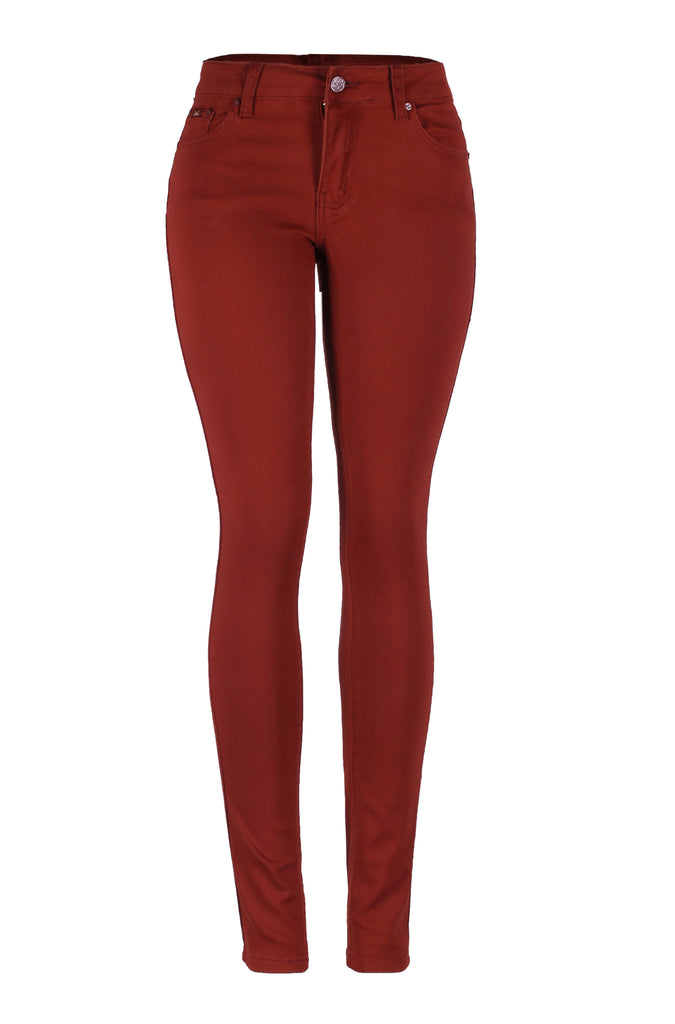 Stretchy 5 Pocket Colored Skinny Jeans | 30% Off First Order | Rust