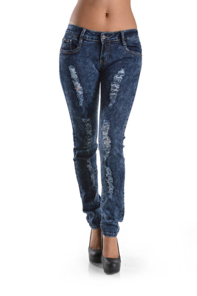Mid-Rise Distressed Skinny Jeans | 30% Off First Order | Acid Wash