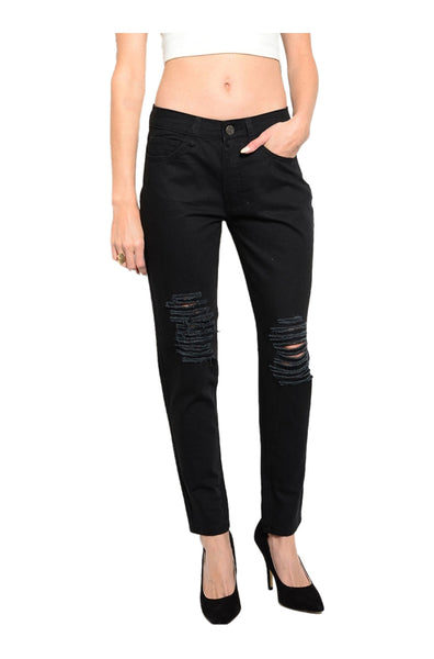 Distressed Skinny Boyfriend Jeans - BodiLove | 30% Off First Order  - 1