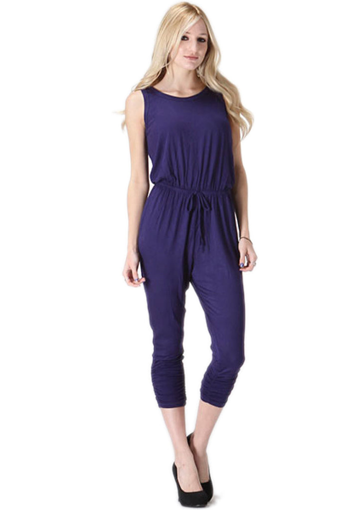 Sleeveless Knit Jumpsuit With Low Open Back | 30% Off First Order | Navy