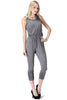 Sleeveless Knit Jumpsuit With Low Open Back | 30% Off First Order | Charcoal