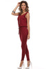Sleeveless Knit Jumpsuit With Low Open Back | 30% Off First Order | Burgundy