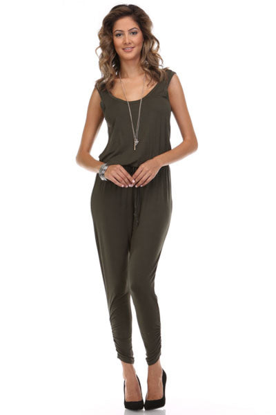 Sleeveless Knit Jumpsuit With Low Open Back | 30% Off First Order | Olive1
